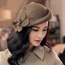 2018 الخريف والشتاء سيدة حفلة رسمية 100% قبعة صوف المرأة زهرة الصوف قبعة بيريه صوف
