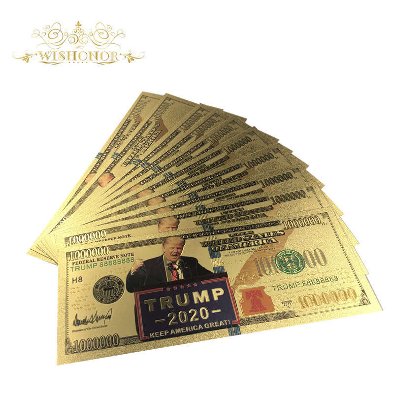 10Pcs/Lot Nice America Trump Banknotes 100 Dollar Bills Banknote in 24K Gold Plated Paper Money For Gifts image