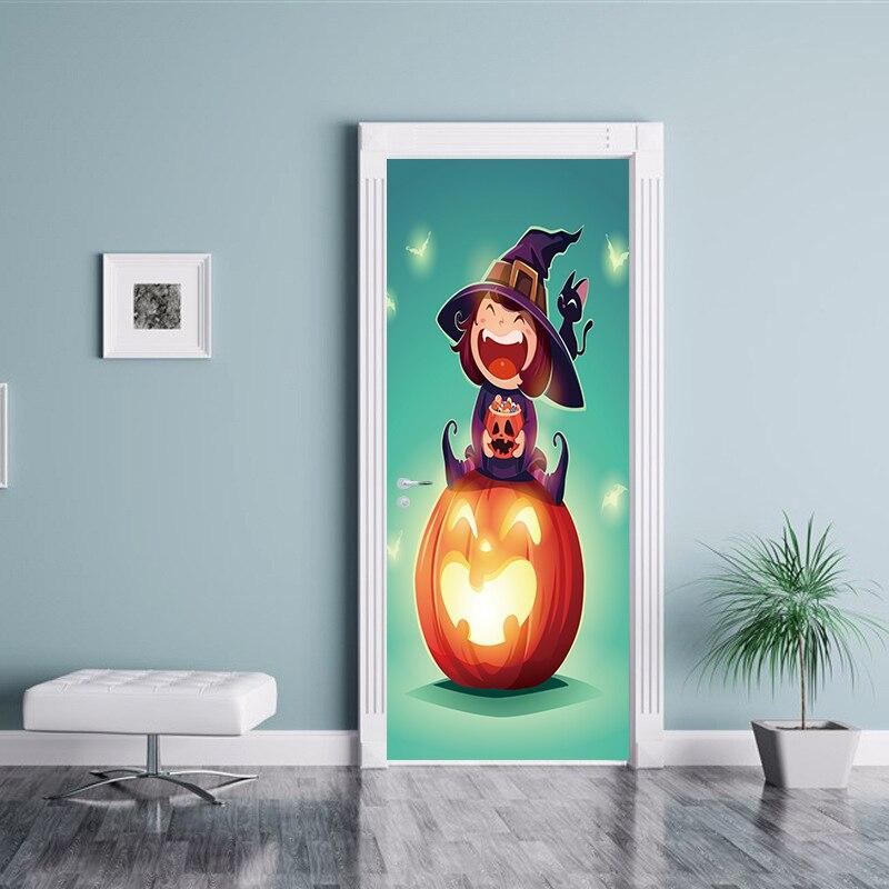 77x200cm Newest Happy Halloween Scary Horror Poster Door