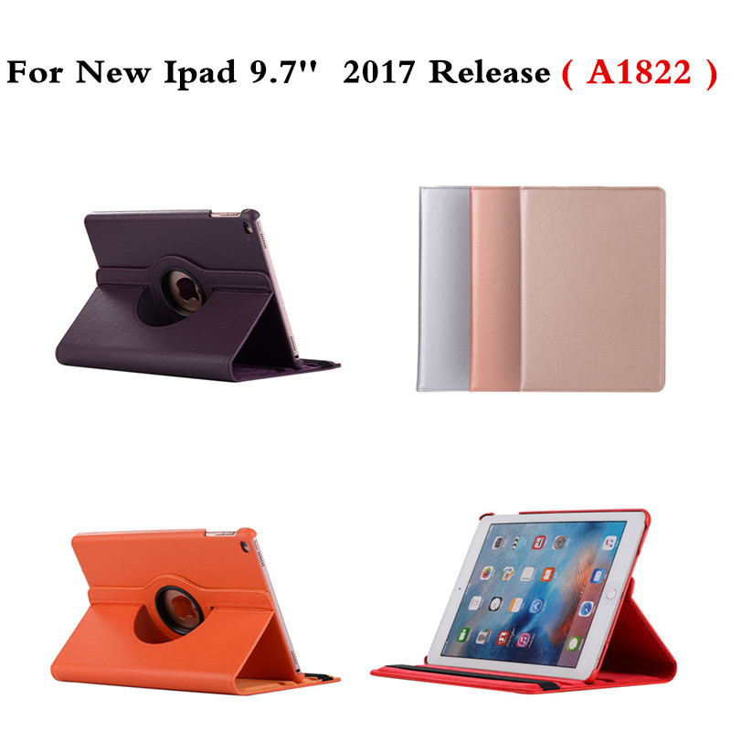 360 Degree Rotating pu Leather Stand Cover For Apple New iPad 9.7 inch 2017 Release A1822 A1823 Case with Sleep Smart Cover ems free shipping 3d photo shop display rotating turntable 360 degree mannequin photography stand
