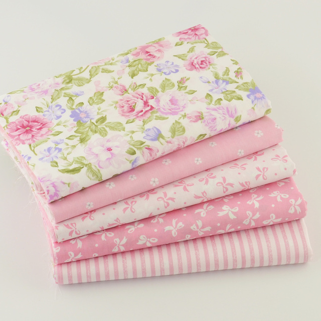 5 шт. 40 см * 50 см Розовый 100% Хлопок Ткань Для Швейных Жир Квартал Лоскутное Лоскутная Ткани Тильда Куклы ткани Детей Постельные принадлежности