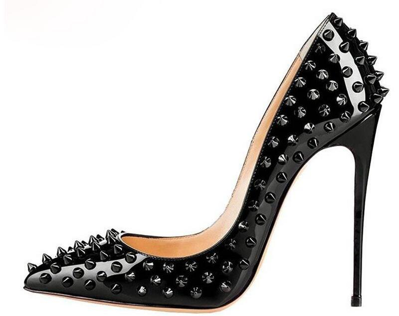 sexy pointed toe rivets studded pumps