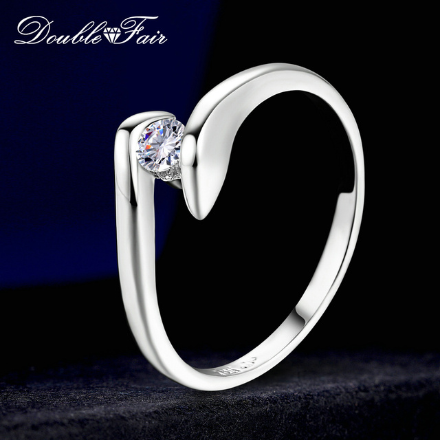 Double Fair Cubic Zirconia Engagement Rings White Gold Color Fashion Brand Weddi
