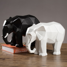 Modern Creative Geometric Origami Resin Elephant Ornaments Cabinet Home Office Desktop Sculpture Decoration Crafts Gift 25*20*14