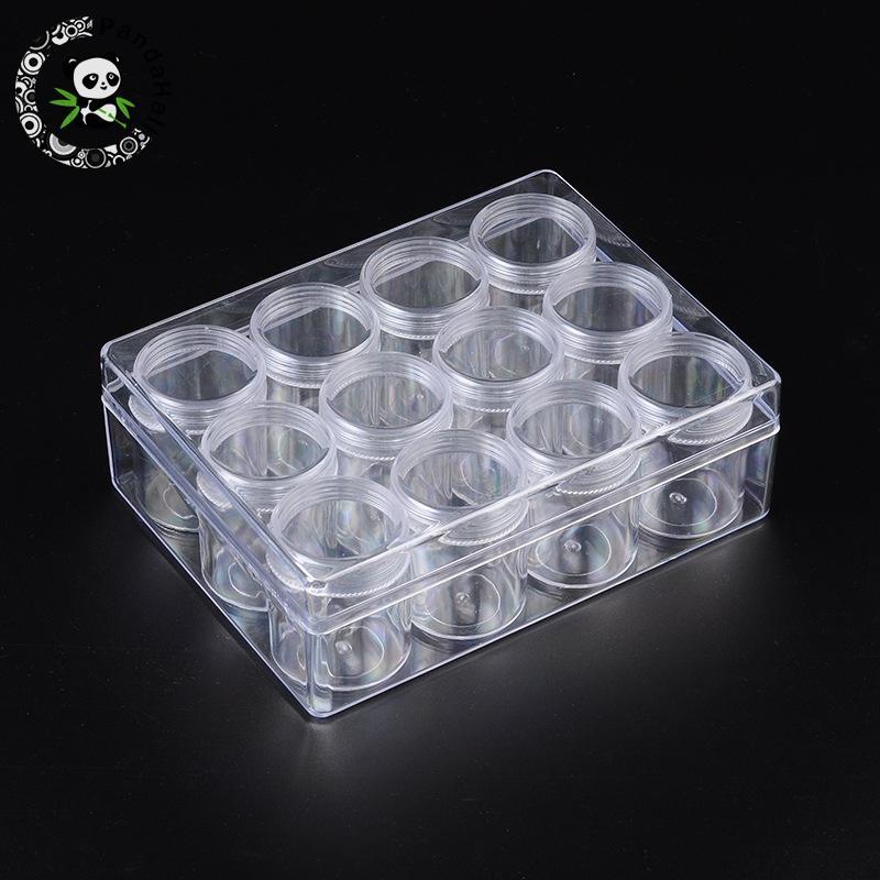 Пластиковые контейнеры для хранения бусин, 12 бутылок/комплект, Прозрачная Круглая коробка для упаковки ювелирных изделий, 16x12.2x5.5cm|plastic beads storage containers|bead storage containersplastic beads storage | АлиЭкспресс