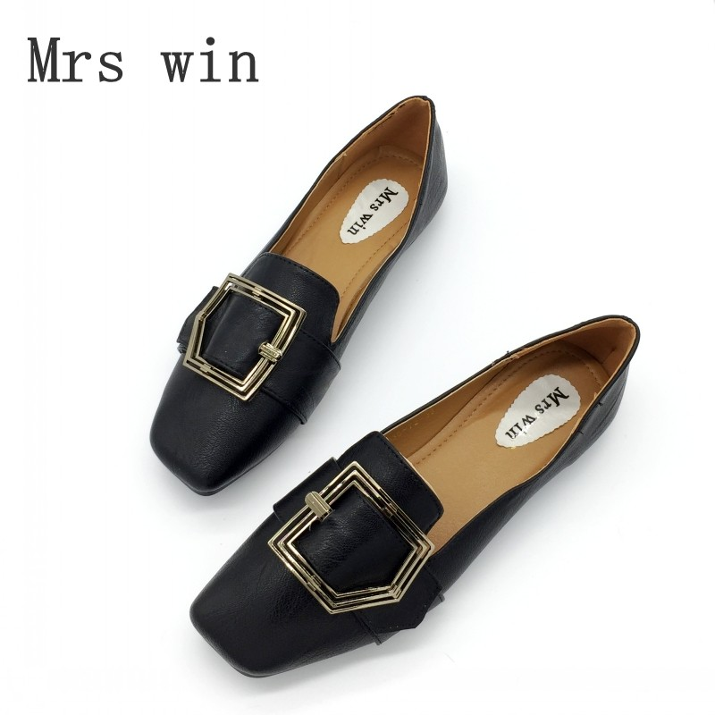 Mrs Win 2017 Woman Flats Shoes Slip On Women Square Toe Single Shoes Ladies shoes Soft Footwear Zapatos Mujer Plus Size Black brand women shoes flats slip on woman foldable ballet flats square toe casual ladies chain single shoes zapatos mujer plus size