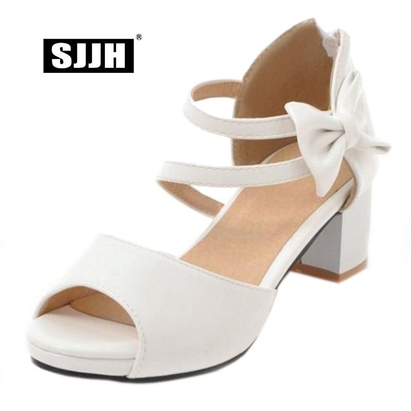 Heels Heels Heels Cute Bowtie scarpe Peep Large Woman Size Footwear Chunky   2bf306