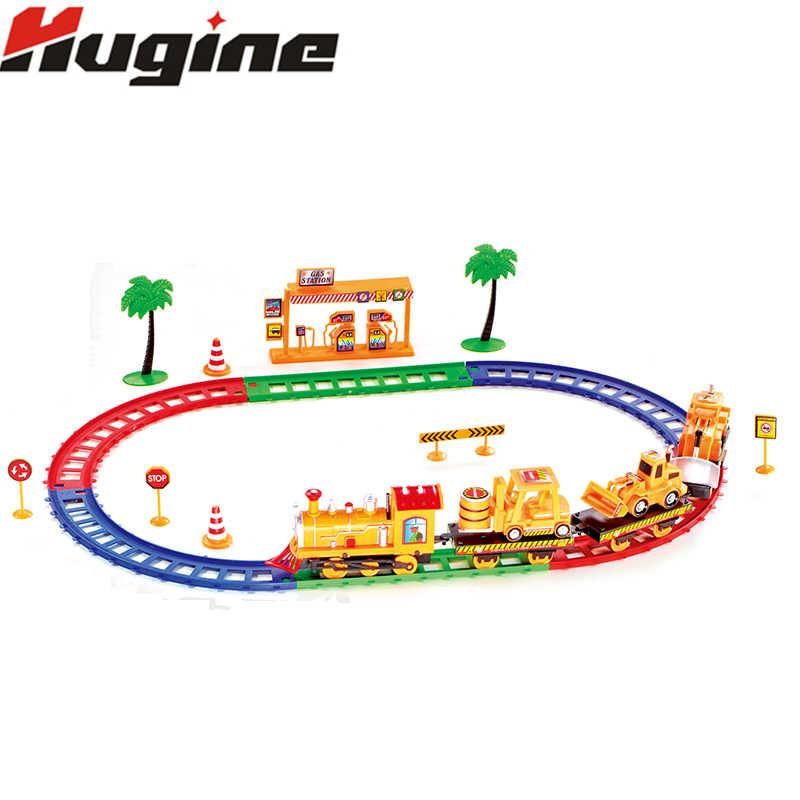Rel Listrik Tur Mobil Kereta Kreatif Perakitan Ejaan Mainan Simulasi Transportasi Jalan Bangunan Kereta Mainan