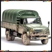 1/32 Diecasts & Toy Model Car Matel Truck Soil Version Pickup Army Cars Light Sound Alloy Toys For Kids Gifts For Children Boy