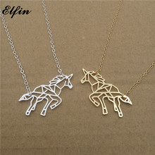 Elfin 2017 Trendy Origami Unicorn Necklace Gold Color Silver Color Animal Jewellery Pendant Necklace Women Steampunk