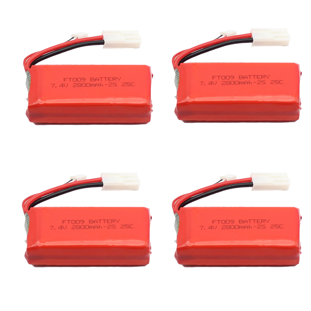 4PCS * Upgraded High Capacity 7.4V 2800mAh Replacement Li-po Battery for Feilun FT009 RC Boat Spare Parts