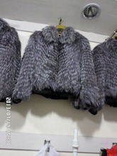 Silver fox long sleeves and leather fur coat