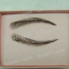 EB015 invisible swiss lace relastic hand made human hair false eyebrow DARK brown color