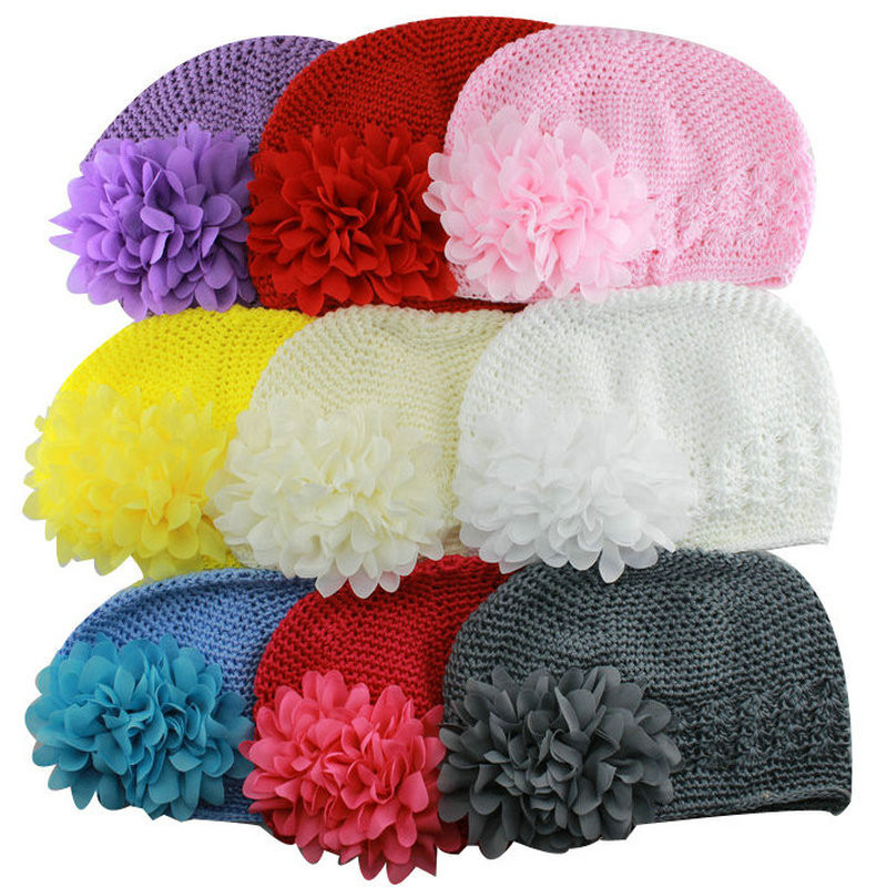 Artificial Fashionable Newborn Crochet Beanie Knitted Hats with Pretty  Penoy Flowers Girls Photo Props Accessories 13b2ecf1294