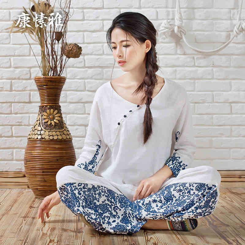 ФОТО Large Size Loose Yoga Set Linen Yoga Shirt Pants Zen Meditation Clothing Woman Sportswear Set Large Size Gym Yoga Suit Tracksuit