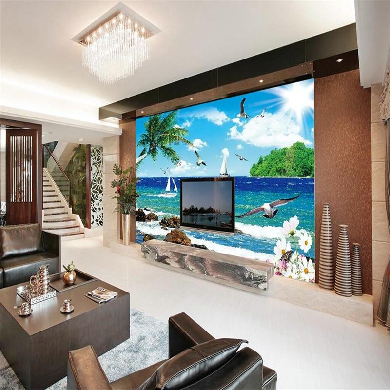 custom photo wall paper Luxury Quality HD Seagull sea island blue sky palm sailboat 3d large wallpaper wall mural