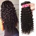 7А Бразильские Глубокая Волна Виргинские Наращивание Волос 100% Бразильский Человеческих Волос Weave 3 Связки Бразильский Глубокий Вьющиеся Волосы Девственницы Переплетения