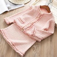 New Baby Girls Fall Boutique Pink Elegant Sets: Coat + Skirts 5 sets/lot, Baby Kids Sets Wholesale Free shipping