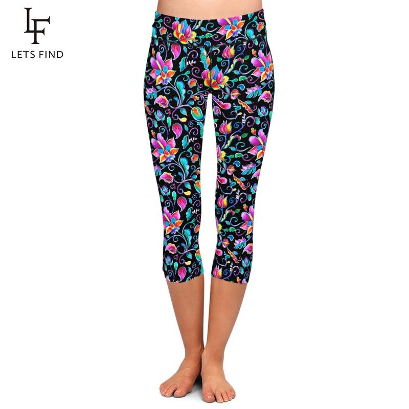LETSFIND Summer New Women Black Capri Leggings High Elastic Milk Silk Flowers Print High Waist Fitness Casual Mid-Calf Leggings