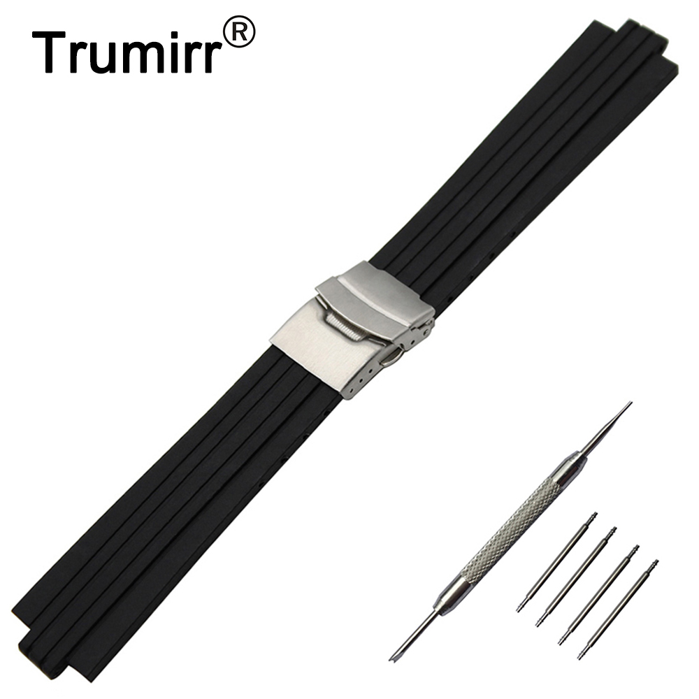 10mm x 23mm Silicone Rubber Watch Band Convex Interface Watchband Stainless Safety Clasp Strap Wrist Belt Bracelet + Spring Bar silicone rubber watch band 10mm x 24mm 12mm x 22mm convex mouth watchband safety clasp strap wrist loop belt bracelet black
