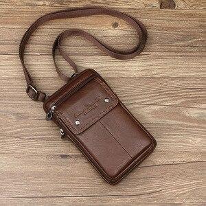 Image 2 - Erkek hakiki deri omuz çantaları küçük kare yüksek kaliteli çok fonksiyonlu askılı çanta Retro İş ofis cep telefonu St