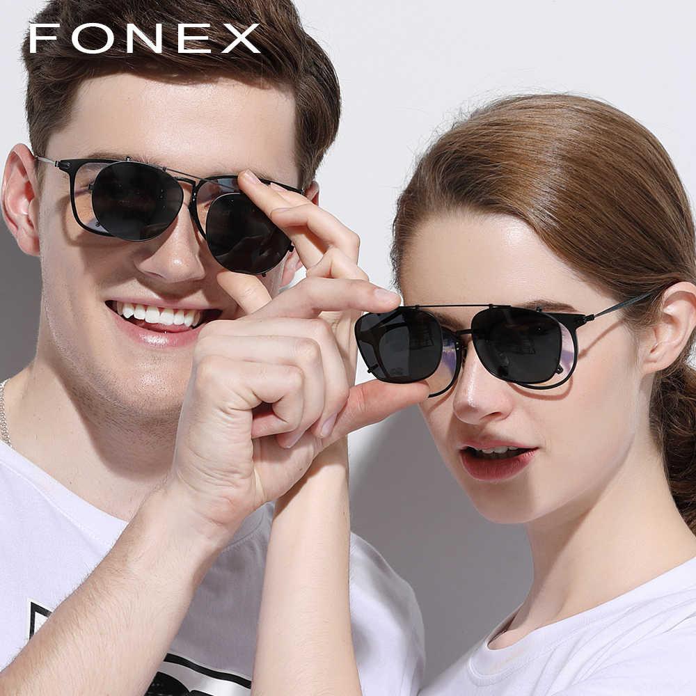 4048b1f089 ... B Pure Titanium Glasses Frame Men Clip on Polarized Sunglasses  Prescription Sun Glasses for Women Square ...