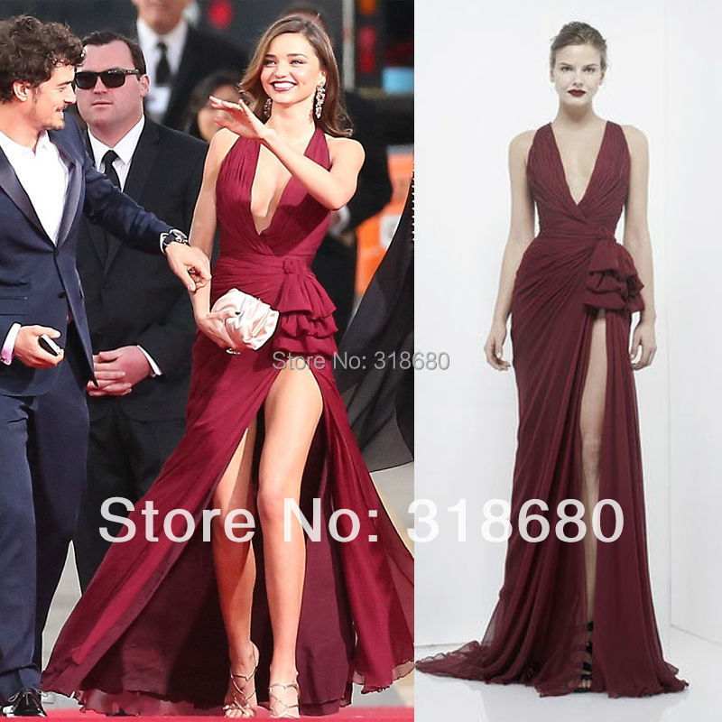 Wine Color Chiffon Plunging Neckline Thigh High Slit Evening Gown