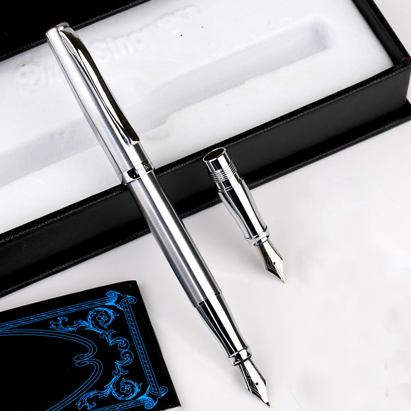 High Quality 209-1 Full Metal Fountain Pen Ink Pen 0.5mm/0.8mm Student Calligraphy Pen Business Gift Box Brithday Gift 2 Nibs skmei 9069 men quartz watch men full steel wristwatches dive 30m fashion sport watch relogio masculino 2016 luxury brand watches