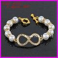 Promoção barato Handmade pérola alternar fechos de jóias de cristal Rhinestone infinito pulseiras