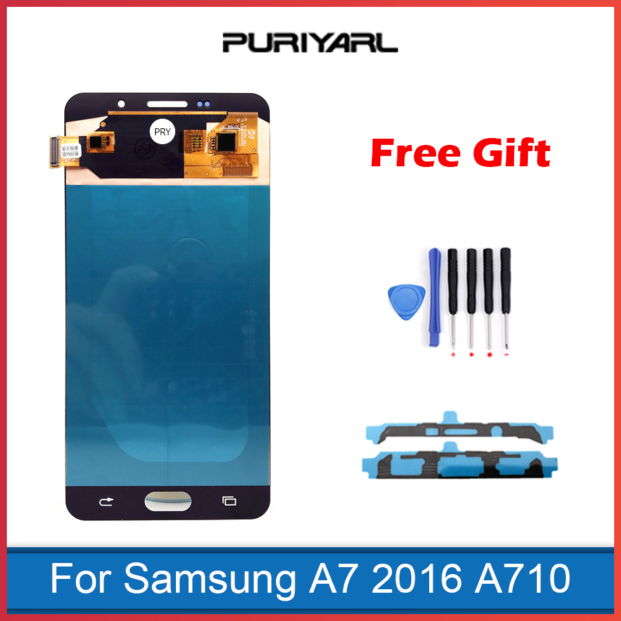 AAA <font><b>AMOLED</b></font> LCD Screen For Samsung Galaxy A7 2016 A710 A7100 A710F A710M LCD Display Touch Screen Digitizer Assembly Repalcement
