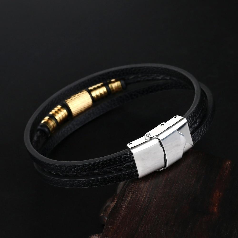 2019 Fashion Jewelry Men Genuine Leather Bracelets Charm Men Stainless Steel Buckle Leather Bracelets&Bangles for Women pulseras