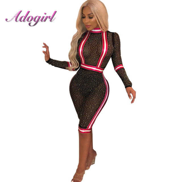 892cc27f216 Diamonds Sexy Sheer Mesh Jumpsuit Turtleneck Long Sleeve Skinny Rompers  Striped Patchwork Night Club Playsuits Bodysuit Overalls