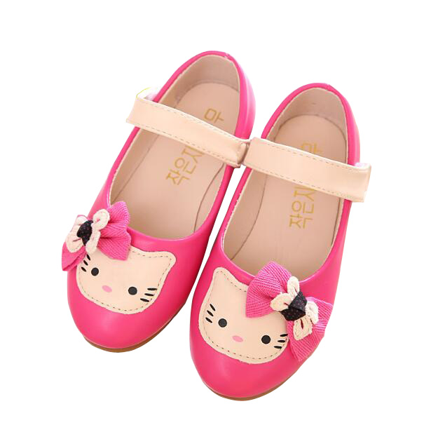 93141ac7b343d New 2017 Spring Cute Hello Kitty Shoes Soft PU Leather Children Party  Dancing Shoes Girls Bow Princess Flat Shoes Size 27-36