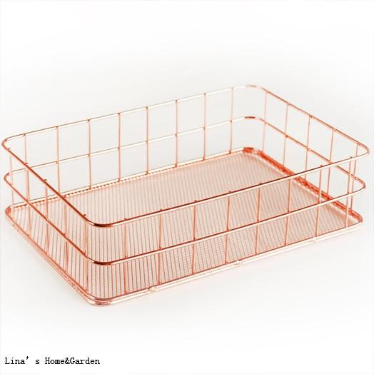 ... Rectangular Rose Gold Wire Basket