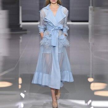 Designer Runway Dress Women's Perspective Feather Embellished Lacing Belt Dress