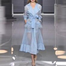 HOHE QUALITÄT Neueste Mode 2020 Designer Runway Kleid frauen Perspektive Feder Verschönerte Schnürung Gürtel Kleid