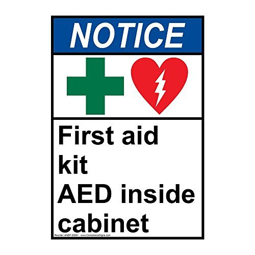 ZJY Notice First Aid Kit Aed Inside Cabinet Vintage Metal Signs Bar