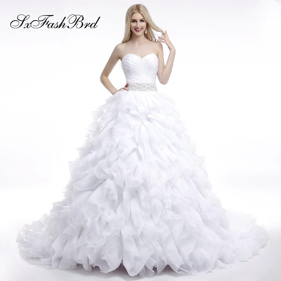 Robe De Mariage Ruffle Sweetheart Waist With Beading A Line Long Bride Wedding Dresses For Women Vestido De Novia
