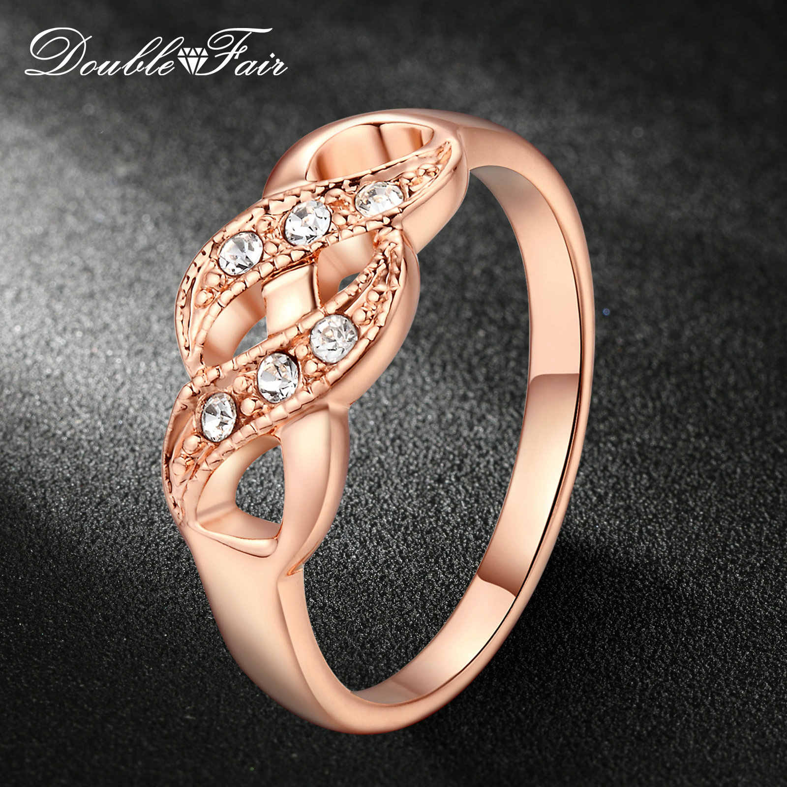 Double Fair Cubic Zirconia Infinity Rings For Women Rose Gold Color Fashion Wedding/Engagement Jewelry Women's Ring Gift DFR334
