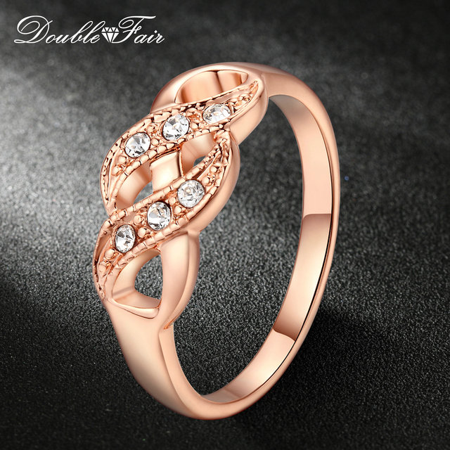 Double Fair Cubic Zirconia Infinity Rings For Women Rose Gold Color Fashion Wedd