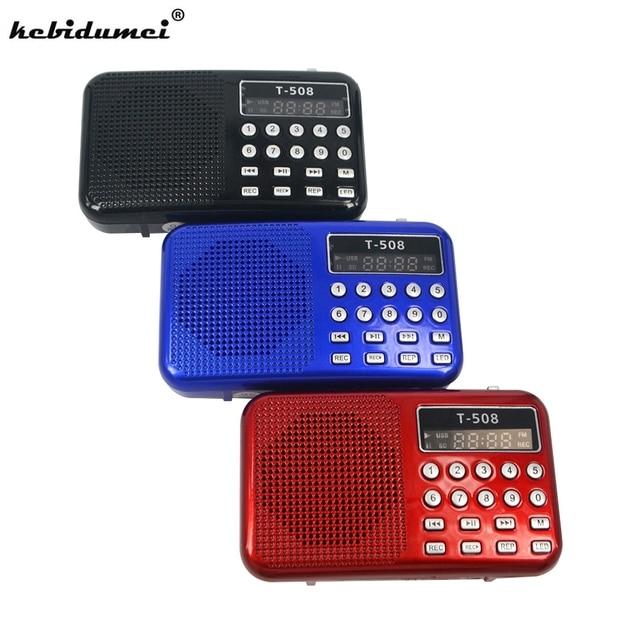 kebidumei 2018 Brand NEW 50mm Internal Magnetic T508 LED Stereo FM Radio Speaker USB TF Card MP3 Music Player