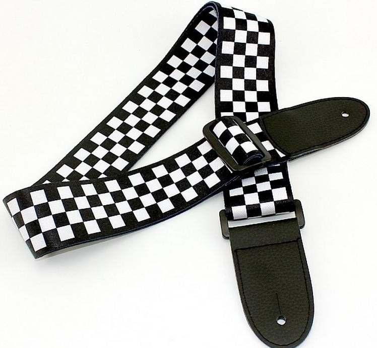 disado Black White Acoustic electric guitar bass strap Checkered Nylon PU Leather Ends guitar strap guitar
