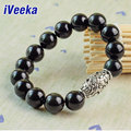 iVeeka brand jewelry natural black obsidian bracelet for men gemstone jewelry pulseira masculina bijoux strand bracelets