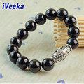 iVeeka brand jewelry natural black obsidian bracelet for men gemstone jewelry pulseira masculina bijoux strand bracelets