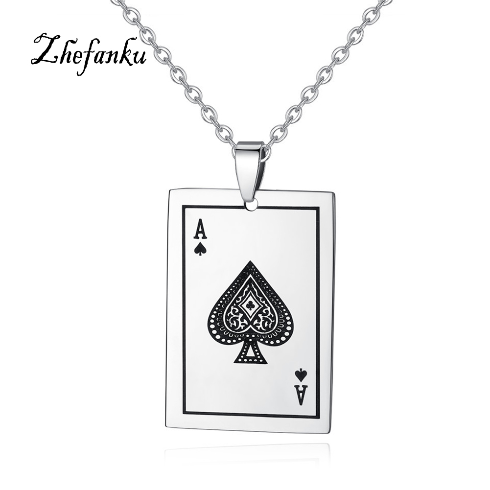 Creative Cool Pendant Necklace Hot Sale Personality Stainless Steel Playing Card A Poker Pendant Necklace For Men And Women
