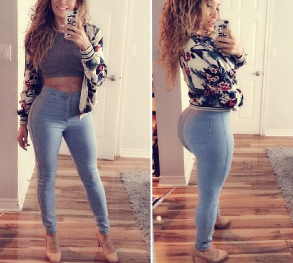 Free Shipping Europe Hot Sale Boutique Stretch Fabric Pencil Pants Jeans Autumn and Winter High Waist Slim Wild Pants Feet bosch 1600 a 00159