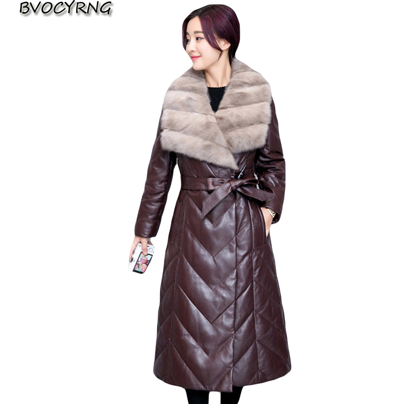 2018 Women Winter   Leather   Jacket Female Plus Size Thick   Leather   Parka High Quality Imitation Mink Fur Collar Long Outerwear