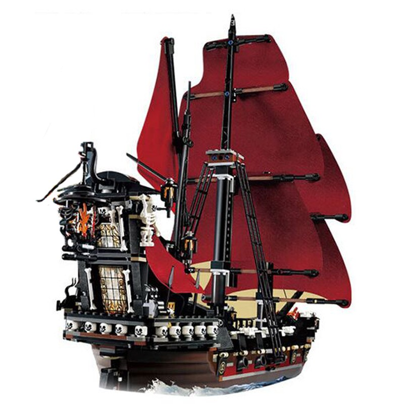 LEPIN Compatible 16009 1151Pcs Pirates Of The Caribbean Queen Anne's Reveage Model Building Kit Blocks Brick Toys for Kids 4195 1717pcs new 22001 pirates of the caribbean imperial flagship diy model building blocks big toys compatible with lego
