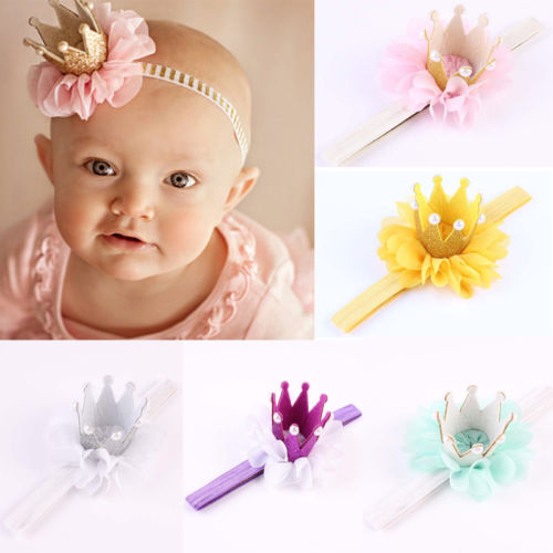 Lovely Baby Children Flower Pearls Crown Headband Pink Silver Green Purple Infant Girls Hairband Headwear Accessories