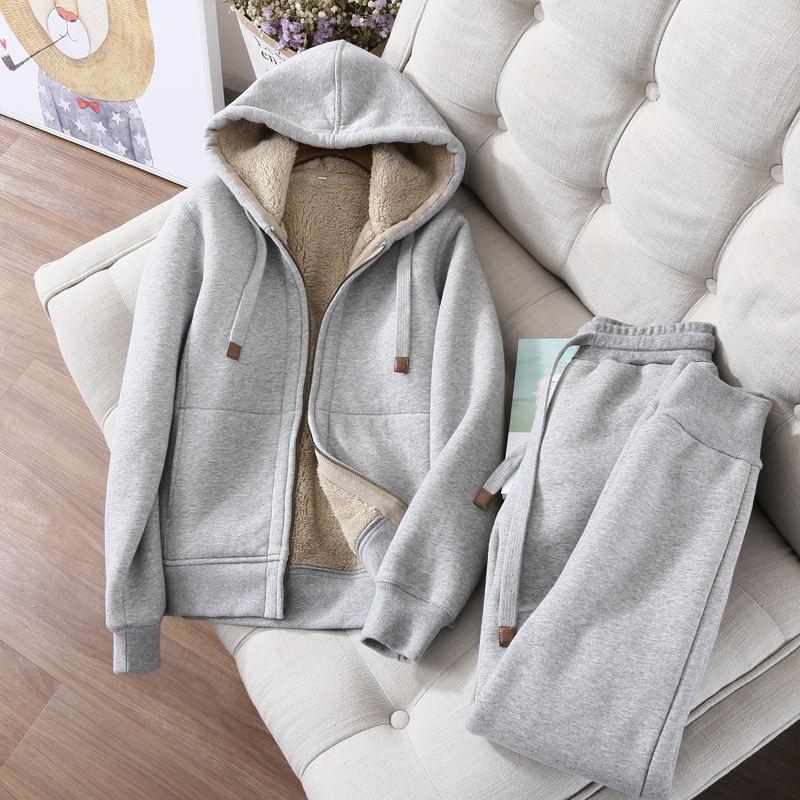 Automne hiver sweat femmes Plus velours surdimensionné Hoodies veste à manches longues sweat Sportswear chaud femmes Hoodies Z64 - 3